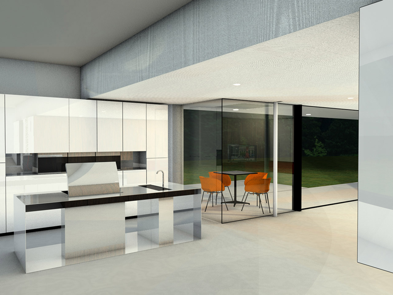 The design for the open-plan kitchen with cooking island, made entirely of stainless steel