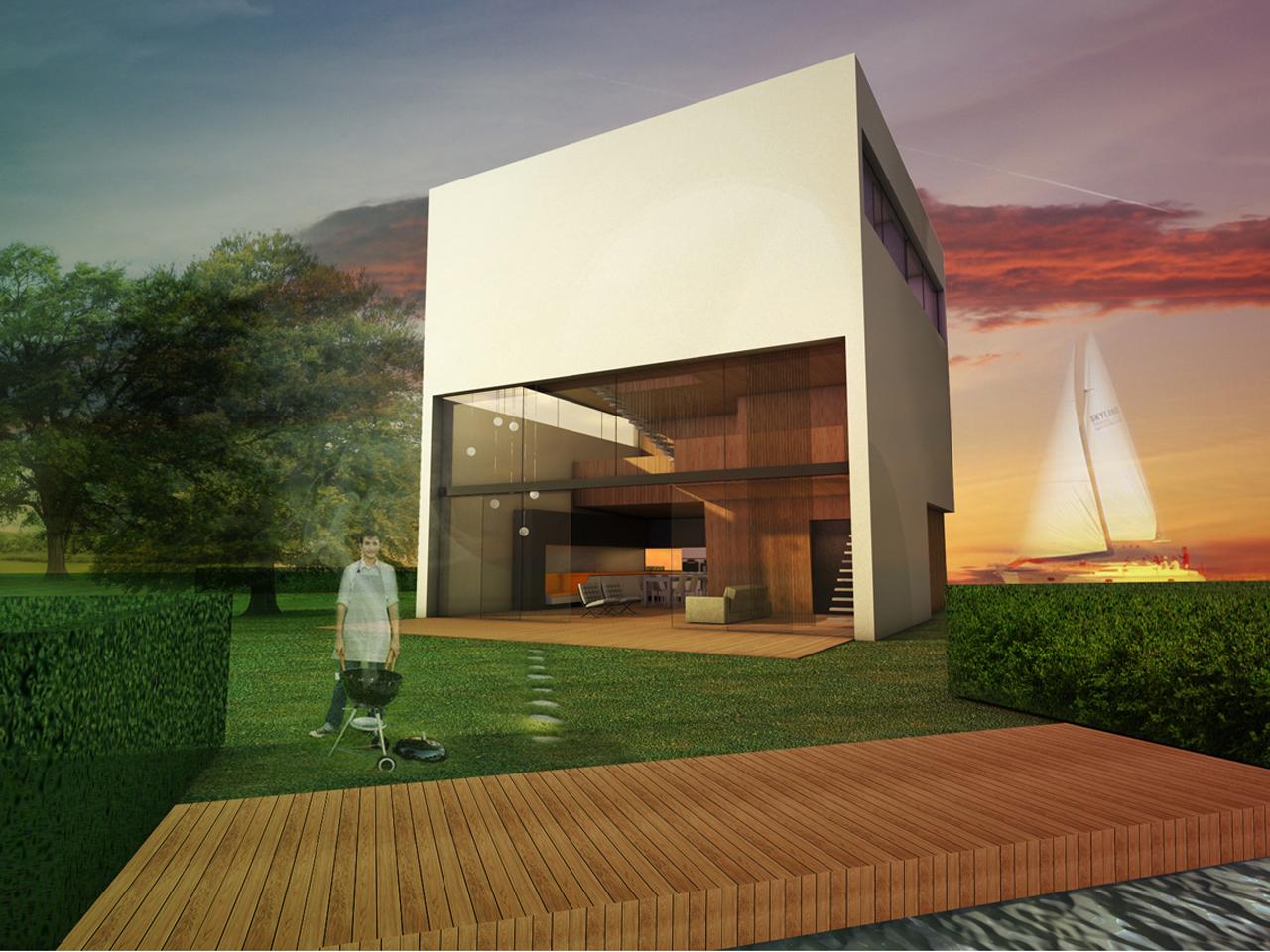 123dv cube house architecture moderne villa 39 s - Kubus interieurs ...