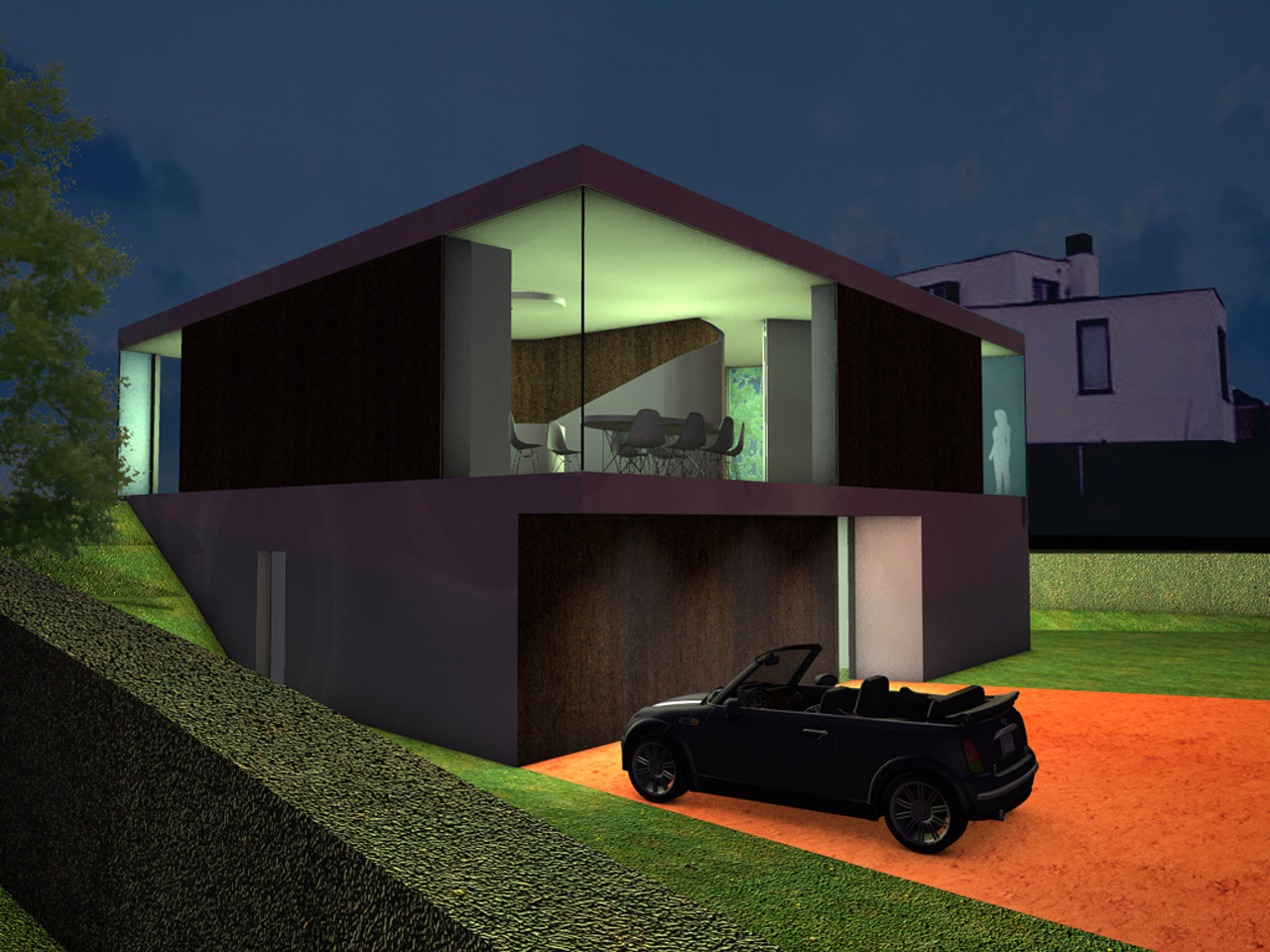 Render of Outback House at night