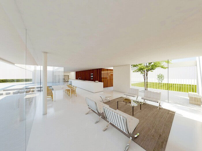 123DV Double Courtyard House woonkamer